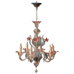 Mid-20th Century Italian Six-Light Blown Glass Murano Chandelier with Flowers