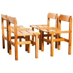 1960s, Pine Set of Four Chairs by Edvin Helseth Norway