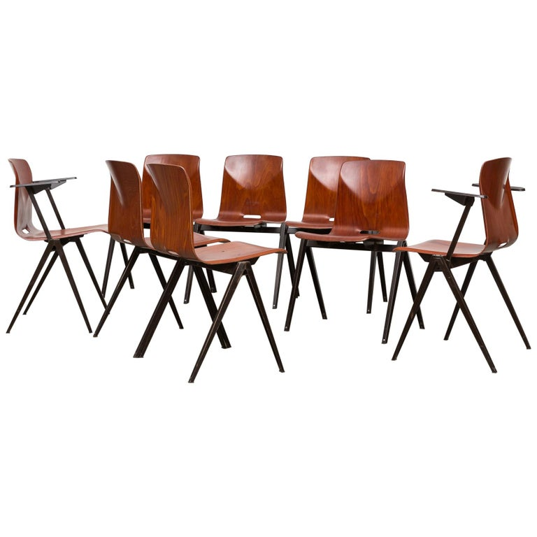 Set of 8 Prouve Style Stacking Chairs For Sale