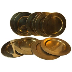 Danish Modern Brass Plates from Boyes, 1970s, Set of 10