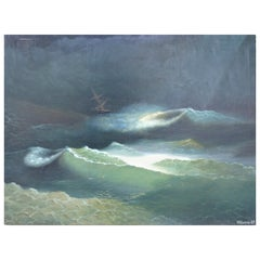Russian 19th Century Seascape Oil Painting on Canvas Signed and Dated 1889