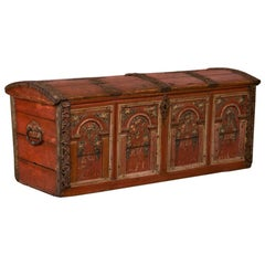 Antique Carved and Original Painted Dome Top Swedish Trunk Dated 1770