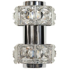 Midcentury Faceted Cut Crystal and Chrome Sconce by Kinkeldey