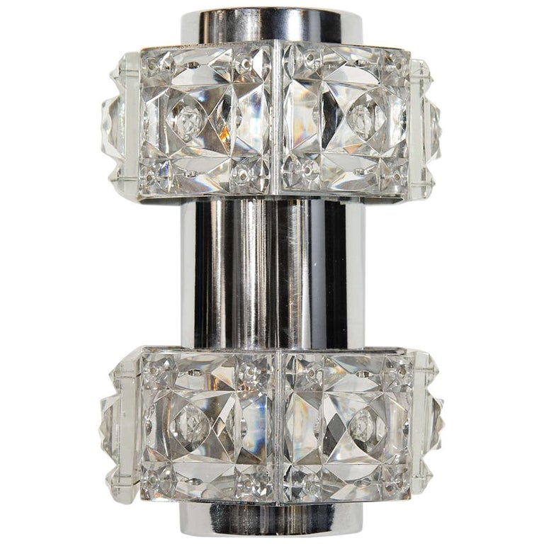 Midcentury Faceted Cut Crystal and Chrome Sconce by Kinkeldey For Sale
