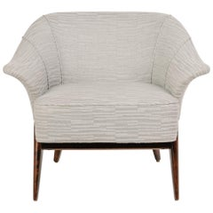 1940s Hollywood Swan Chair in Embossed Woven Wool and Dark Maple
