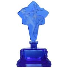Art Deco Blue Glass Perfume Bottle
