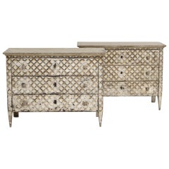 Large Pair of Italian Neoclassical Style Crosshatch Painted Commodes
