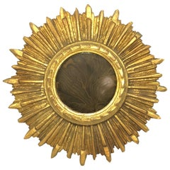 Petite French Starburst Sunburst Gilded Wood Mirror, circa 1910s