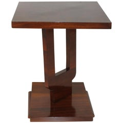 Art Deco Walnut Side Table, Italy, circa 1925