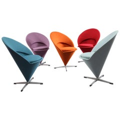 Five Original Cone Chairs Designed Verner Panton for Rosenthal 1958, Denmark
