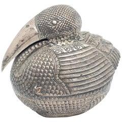 Early 20th Century Handmade Khmer Bird Silver Box by Cambodian Artisans