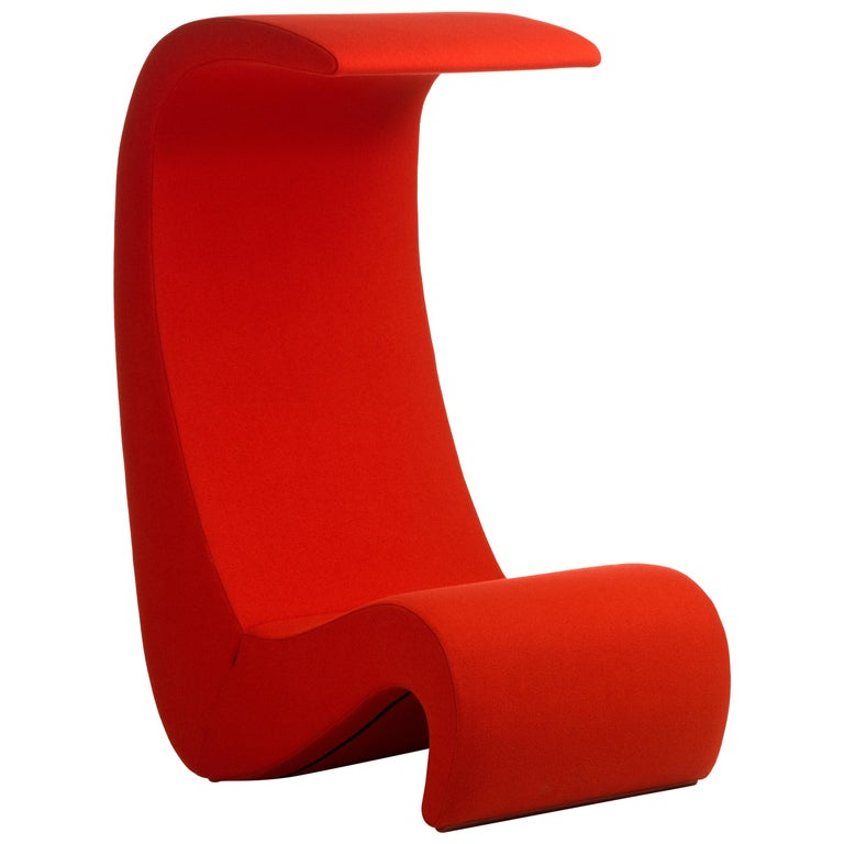 Vitra Amoebe High Back Chair In Red By Verner Panton For