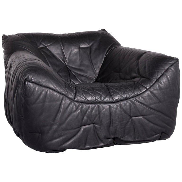 Roche Bobois Informel Designer Leather Armchair Black One-Seat Couch