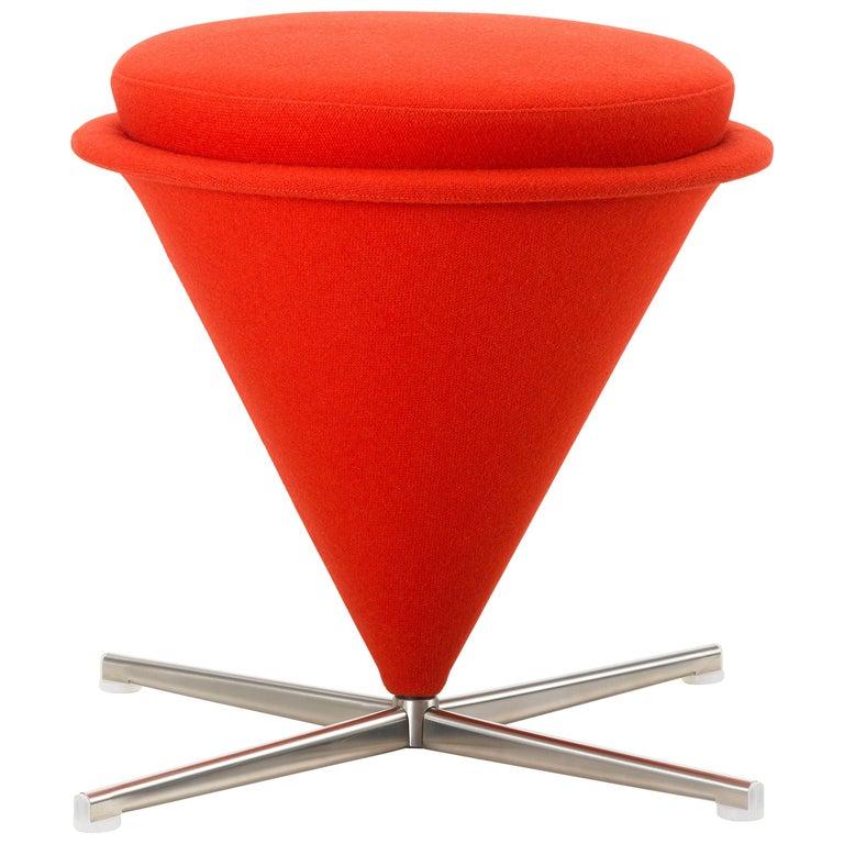 Vitra Cone Stool in Dark Orange by Verner Panton For Sale