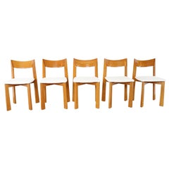 Set of 5 Sculptural Wooden Dining Chairs with Curved Back, France, 1960