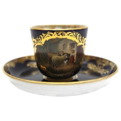 Meissen Porcelain Mocha Cup in Cobalt Blue with Gold Painting and Girl with Goat