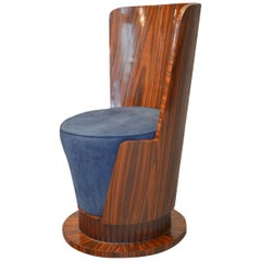 Cylinder Style Art Deco Armchair in Rosewood of French Origin Dated 1925