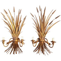 Pair of Italian Gilt Metal Wheat Sheaf Wall Sconces