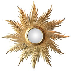 Antique French Giltwood Sunburst Convex Mirror