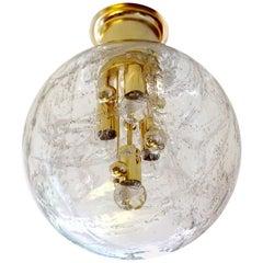 Large Midcentury Murano Glass Globe Flush Light Pendant Lamp, 1960s