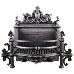 Grand Antique Victorian Jacobean Revival Manner Cast Iron Log Grate 19th Century