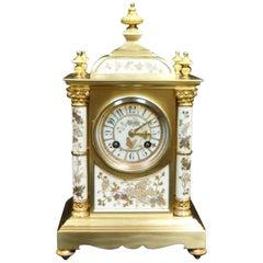 French Belle Époque Brass and Porcelain Mantel Clock