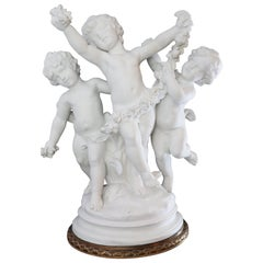 19th Century French Bisque Sculpture of 3 Cherubs, Signed Moreau