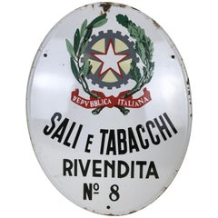 1950s Oval Italian Vintage Enamel Tobacco Sign 'Sali e Tabacchi'