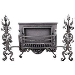 Large Antique Cast & Wrought Iron Arts & Crafts Fire Basket, English
