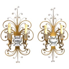 Pair of Baguès Style French Crystal Gilt Flower Wall Sconces