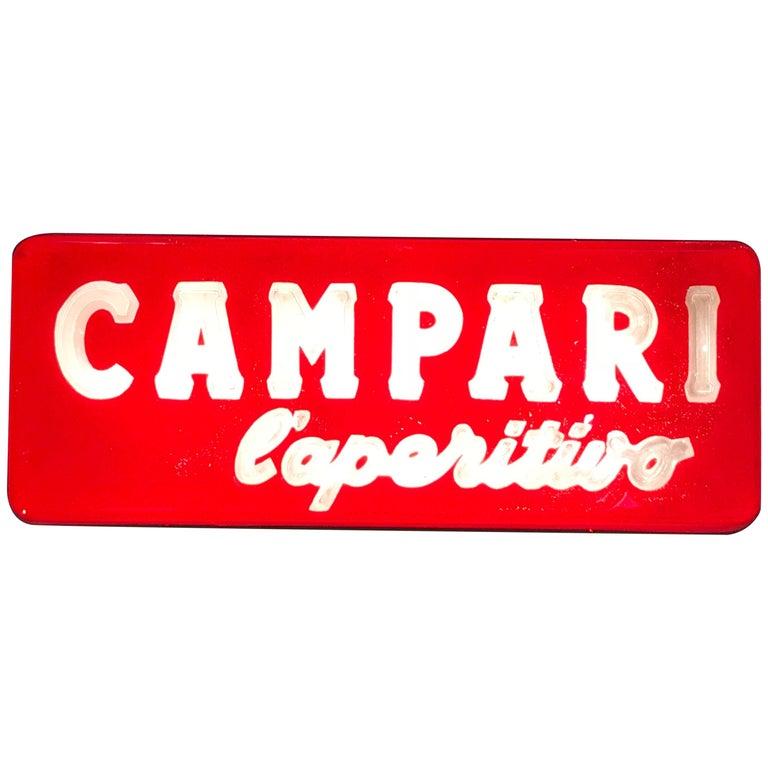 1970s Vintage Italian Campari L'aperitivo Campari the Aperitif Illuminated Sign For Sale