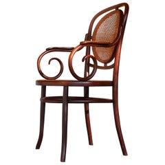 Austrian Art Nouveau Judenstil Bentwood and Cane Armchair by Fischel