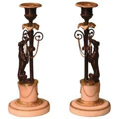 Early 19th Century Bronze and Ormolu Greyhound Candlesticks