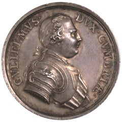 Rare George II Silver Prince of Orange & Duke of Cumberland Medal by T Pingo