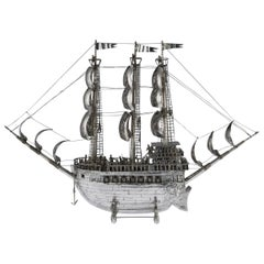 Antique Spanish Solid Silver Impressive Large Neff Galleon Ship, circa 1930
