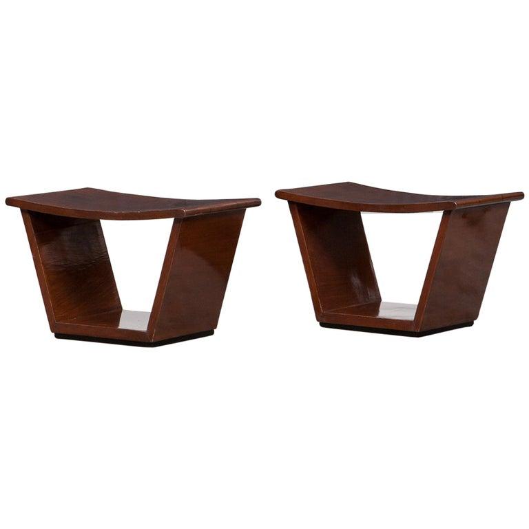 1930s Wooden Pair of Stools by Osvaldo Borsani