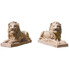 Pair of Bristol Glazed Garden Lions