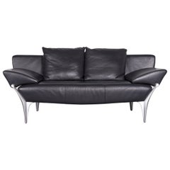 Rolf Benz 1600 Designer Leather Sofa Black Two-Seat Couch