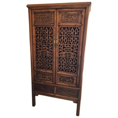 Gorgeous Two-Door Chinese Carved Wood Cabinet