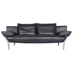 Rolf Benz 1600 Designer Leather Sofa Black Three-Seat Couch