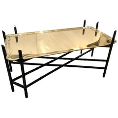 Elegant Heavy Brass Tray Coffee Table with Faux Bamboo Ebonized Base