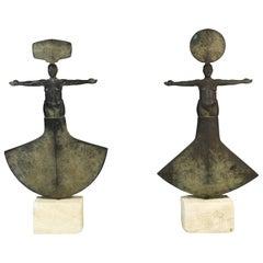 Jim Martin Sculptor Pair of Spiritual Bronze Steel Figurative Sculptures