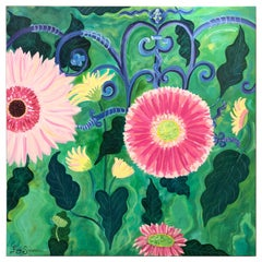 Large Contemporary Painting of Gerbera Daisies
