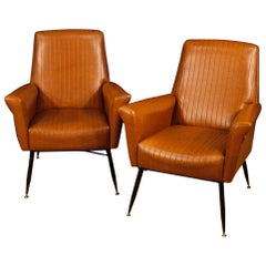 20th Century Brown Faux Leather and Metal Italian Design Pair of Armchairs, 1970