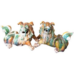 Striking Pair of Ceramic Chinese Foo Dogs Sculptures