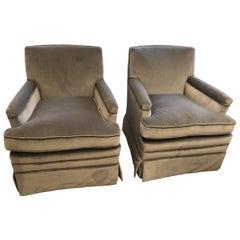Moviestar Grey Platinum Pair of Vintage Club Lounge Chairs