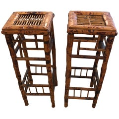 Handsome Pair of Antique Bamboo Side Tables Plant Stands