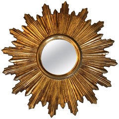 Glistening Giltwood Small Italian Sunburst Mirror
