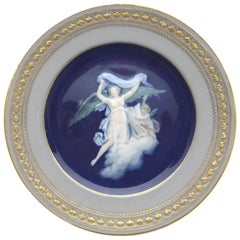Meissen Pate Sur Pate Plate with Two Angels and a Harp in Cobalt Blue