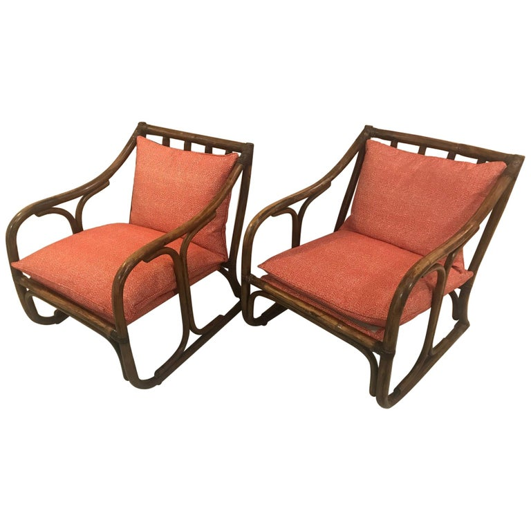 Pair of French 1970s Bamboo Armchairs